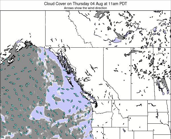 British-Columbia Cloud Cover on Tuesday 10 Dec at 4am PST