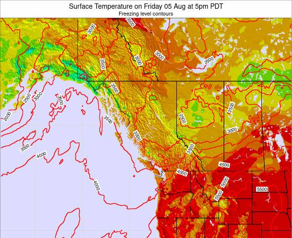 British-Columbia Surface Temperature on Sunday 26 May at 11am PDT map