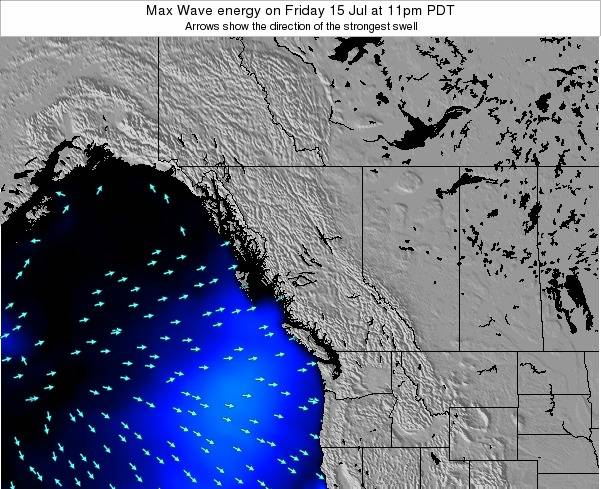 British-Columbia Max Wave energy on Saturday 25 Oct at 5am PDT