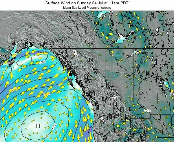 British-Columbia Surface Wind on Thursday 20 Jun at 5am PDT map