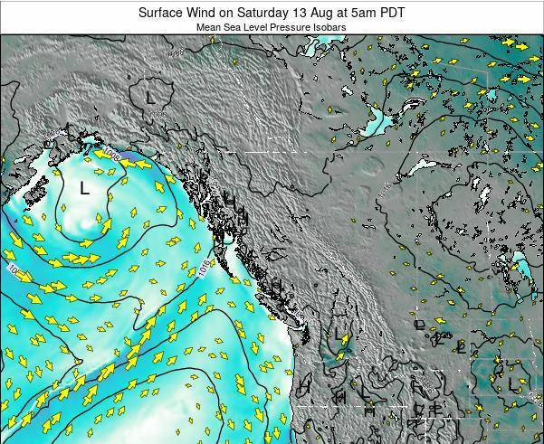 British-Columbia Surface Wind on Tuesday 25 Jun at 11pm PDT map