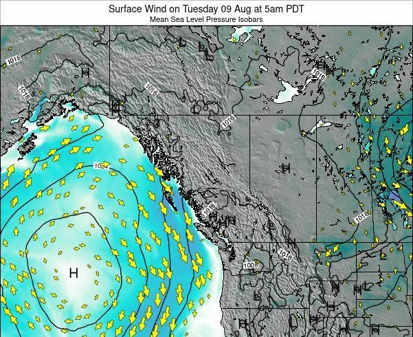 British-Columbia Surface Wind on Thursday 23 May at 11am PDT map
