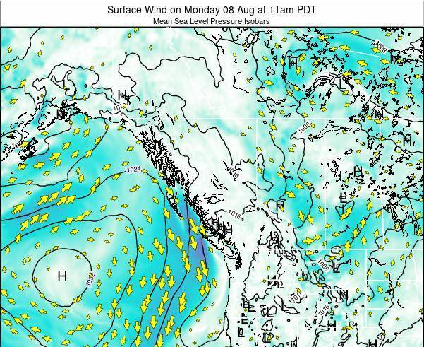 British-Columbia Surface Wind on Wednesday 22 May at 5pm PDT map