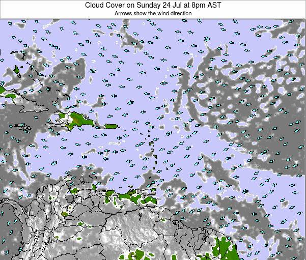 Guadeloupe Cloud Cover on Wednesday 26 Jun at 8am AST