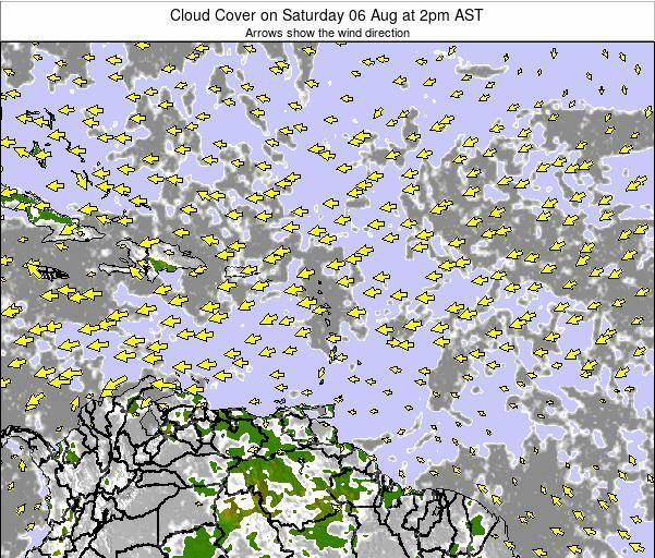 Guadeloupe Cloud Cover on Tuesday 11 Mar at 2pm AST