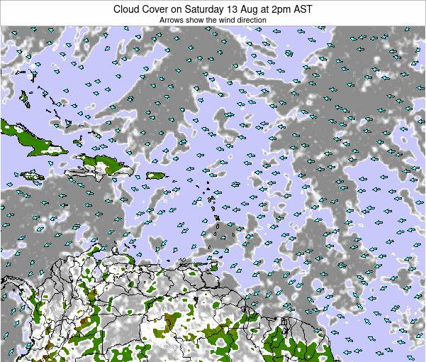 Puerto Rico Cloud Cover on Saturday 14 Dec at 2pm AST