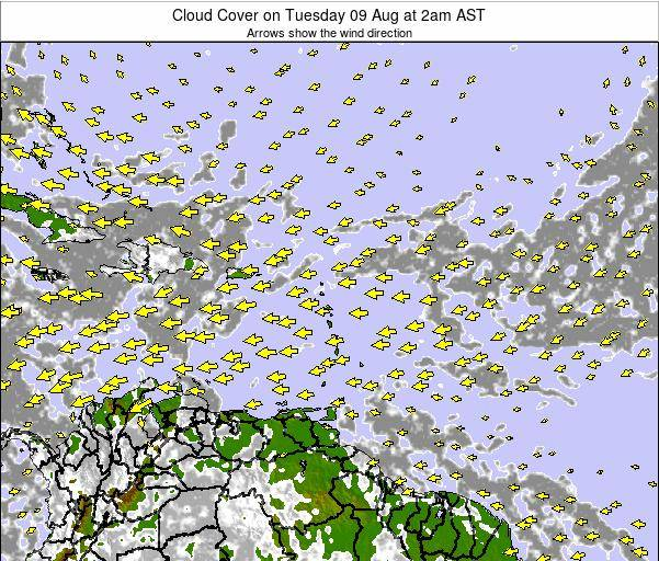 Puerto Rico Cloud Cover on Monday 09 Dec at 2pm AST