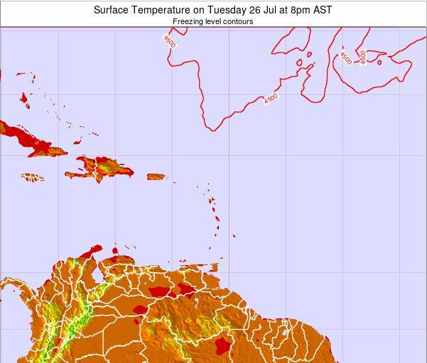 Saint Lucia Surface Temperature on Monday 21 Apr at 2pm AST