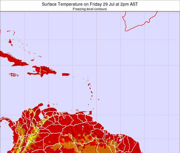 Saint Lucia Surface Temperature on Sunday 27 Apr at 8am AST