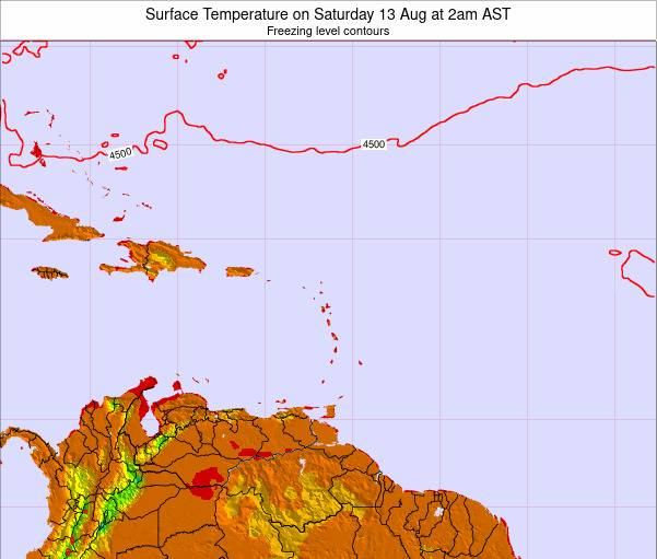 US Virgin Islands Surface Temperature on Monday 27 May at 2am AST map