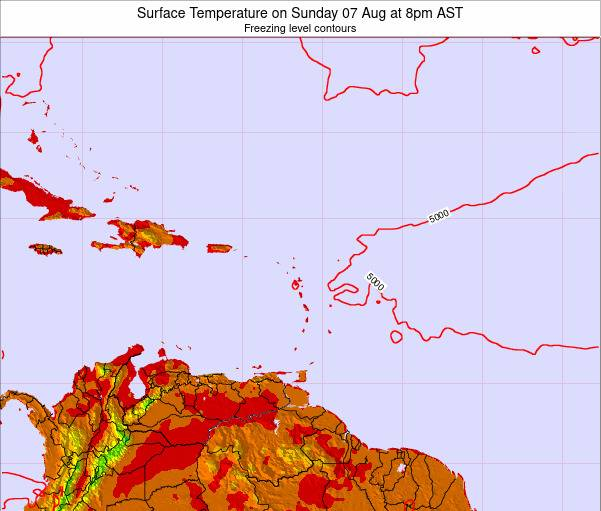 Saint Lucia Surface Temperature on Thursday 20 Jun at 8am AST