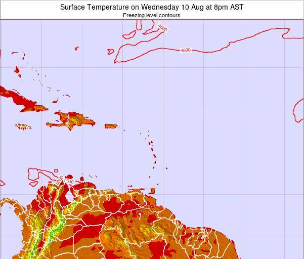 Saint Lucia Surface Temperature on Saturday 15 Mar at 8am AST