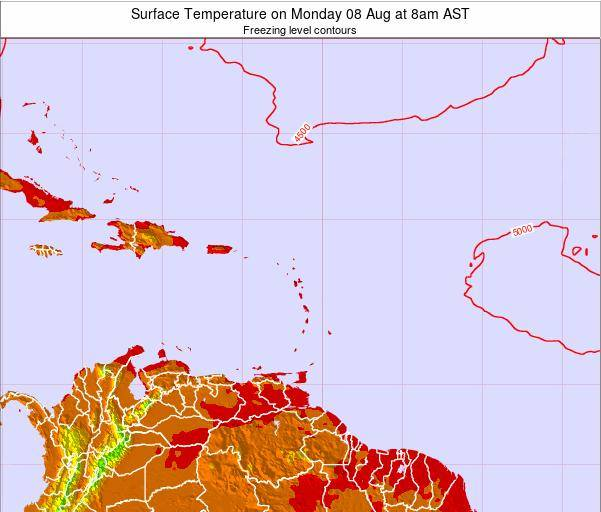 Saint Lucia Surface Temperature on Monday 04 Aug at 2pm AST