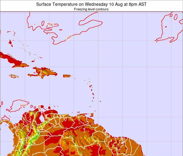 Saint Lucia Surface Temperature on Saturday 26 Aug at 2pm AST