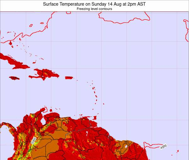 British Virgin Islands Surface Temperature on Saturday 25 May at 2pm AST