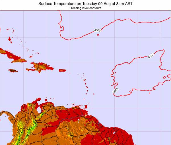 Dominican Republic Surface Temperature on Thursday 20 Jun at 8am AST map