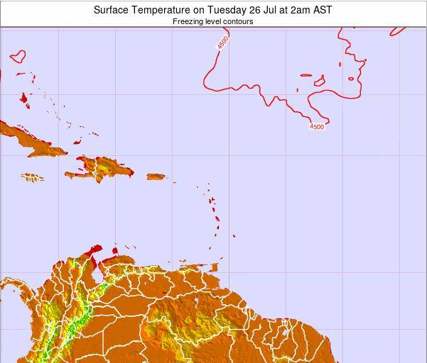Saint Lucia Surface Temperature on Friday 25 Apr at 2pm AST