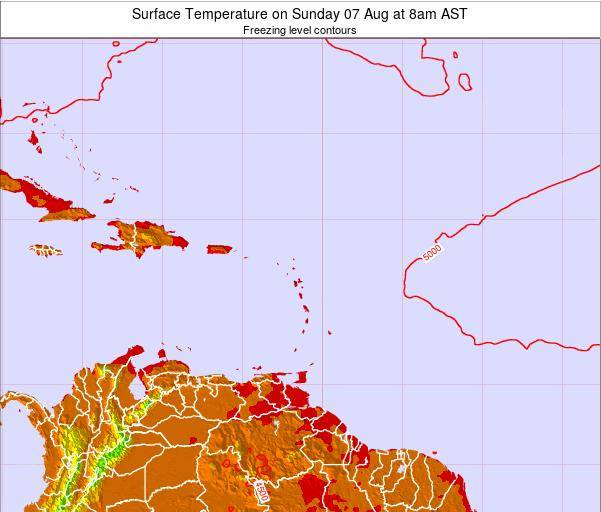 Saint Lucia Surface Temperature on Tuesday 22 Apr at 2am AST