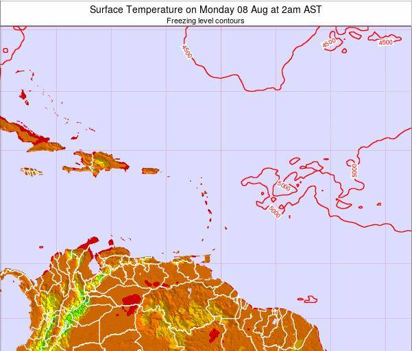 Guadeloupe Surface Temperature on Monday 20 May at 8pm AST
