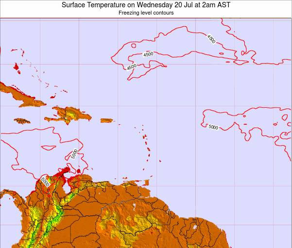 Saint Lucia Surface Temperature on Sunday 09 Mar at 2am AST