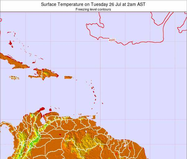 Saint Lucia Surface Temperature on Monday 18 Dec at 2am AST map