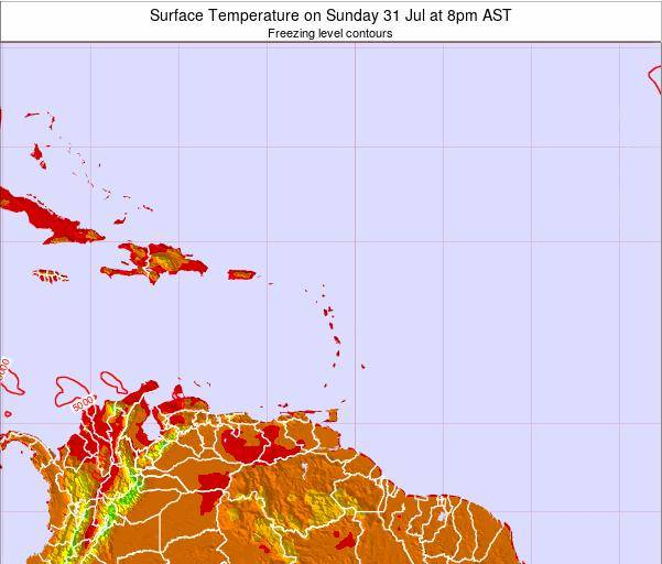 Saint Lucia Surface Temperature on Monday 30 May at 8am AST