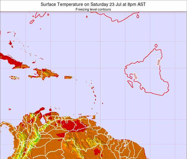 Saint Lucia Surface Temperature on Sunday 03 Aug at 8pm AST