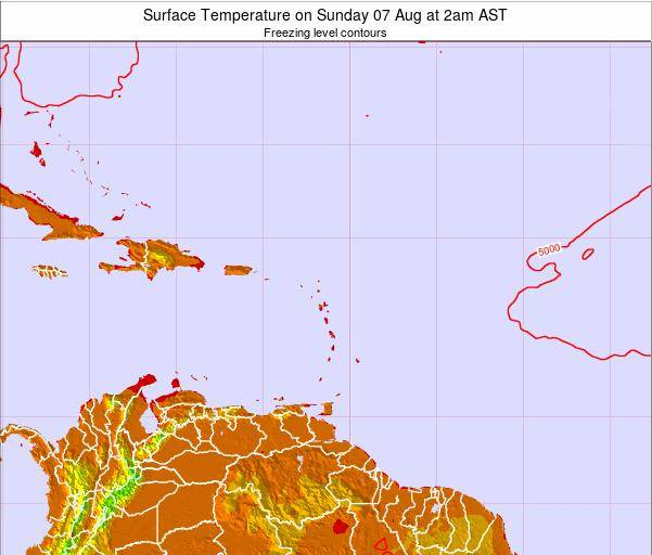 Saint Lucia Surface Temperature on Saturday 25 May at 2pm AST