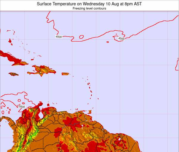 Saint Lucia Surface Temperature on Thursday 21 Dec at 8am AST map