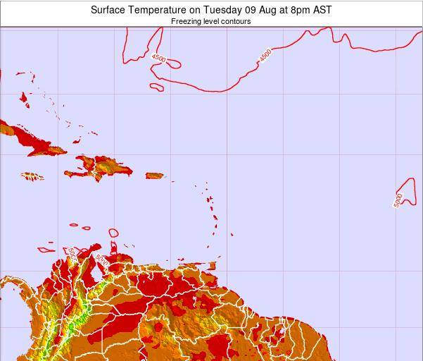 Saint Lucia Surface Temperature on Sunday 26 May at 2pm AST