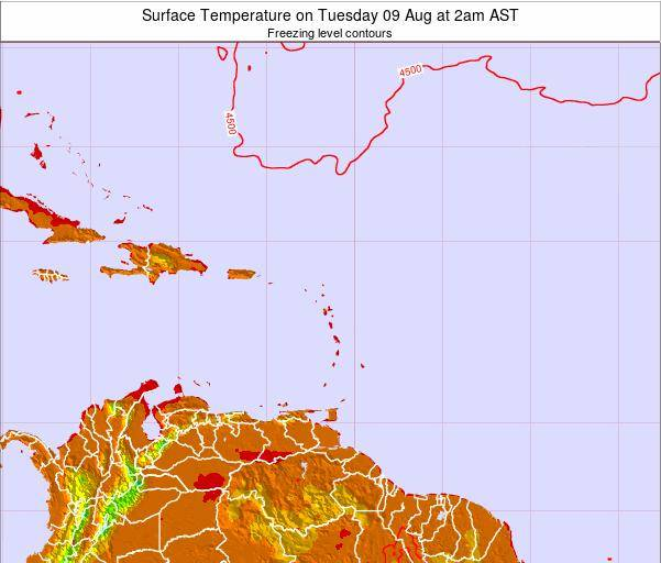 Montserrat Surface Temperature on Saturday 25 Oct at 8am AST