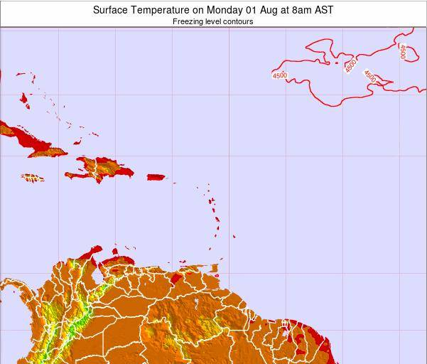 Saint Lucia Surface Temperature on Saturday 04 Apr at 8am AST