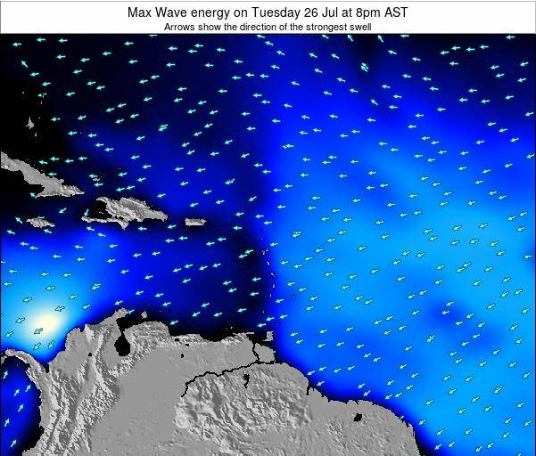 Saint Lucia Max Wave energy on Saturday 30 Jun at 2am AST map