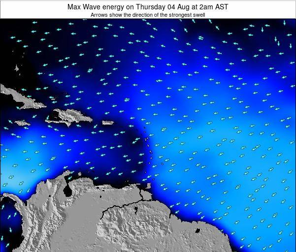 Saint Lucia Max Wave energy on Sunday 21 Oct at 8pm AST map