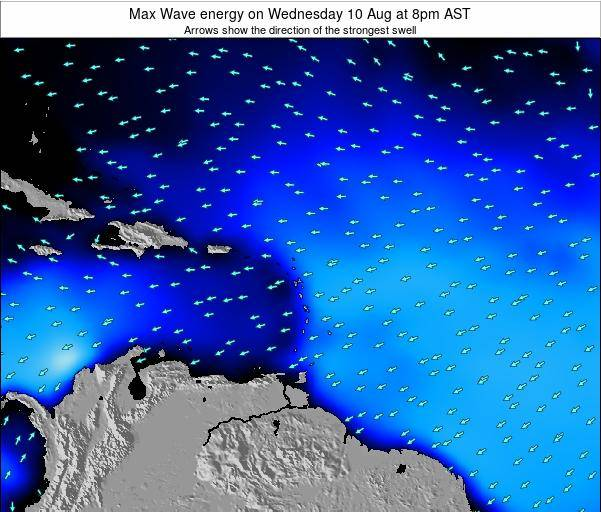 Saint Lucia Max Wave energy on Monday 01 Oct at 8pm AST map