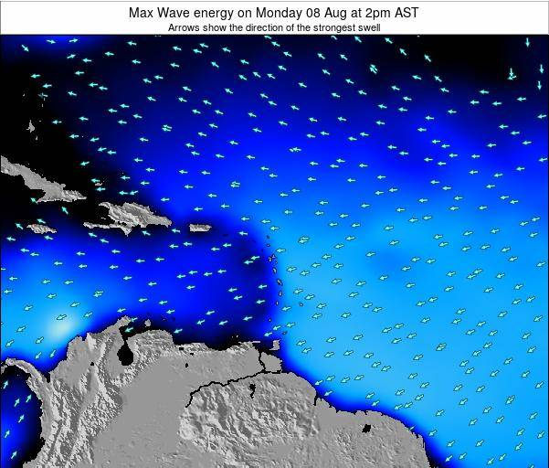 Saint Lucia Max Wave energy on Monday 26 Nov at 8am AST map