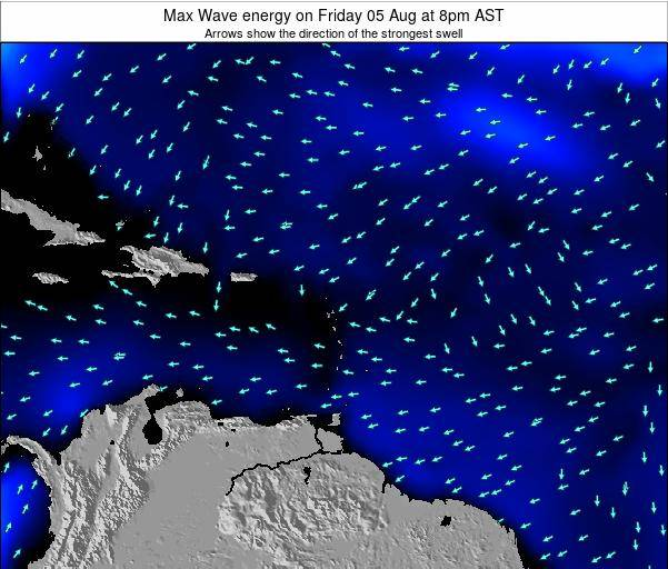 Saint Lucia Max Wave energy on Saturday 18 Aug at 2pm AST map