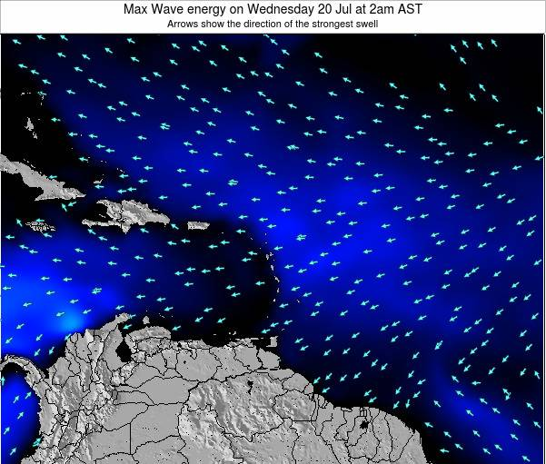 Saint Lucia Max Wave energy on Saturday 19 Jan at 8am AST map
