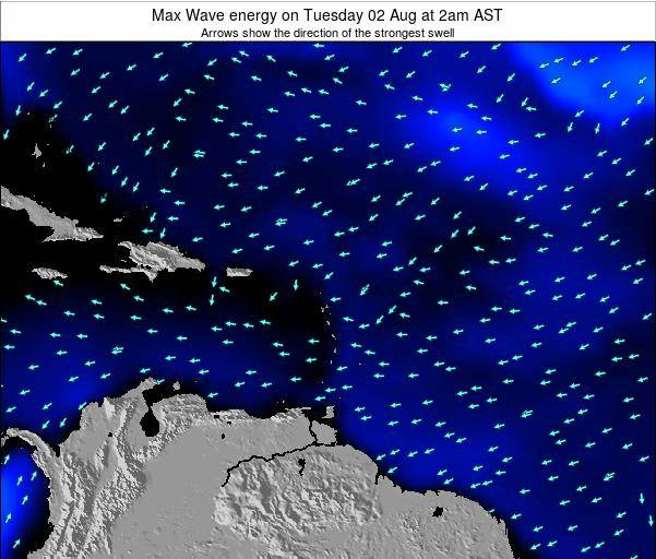 Saint Lucia Max Wave energy on Tuesday 29 May at 2am AST map