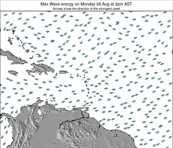 Saint Lucia Max Wave energy on Thursday 21 Feb at 8pm AST map