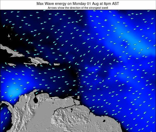 Dominican Republic Max Wave energy on Monday 25 Aug at 8am AST
