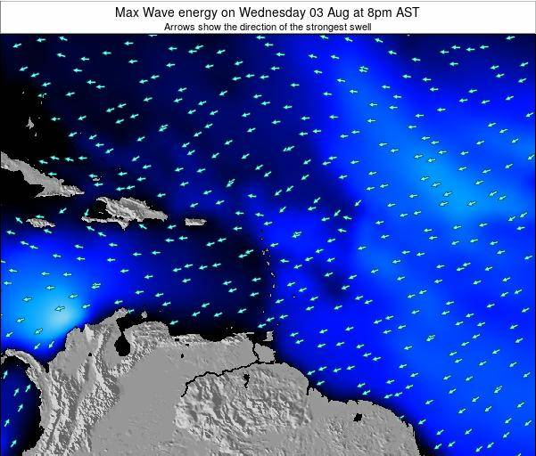Saint Lucia Max Wave energy on Sunday 16 Dec at 8am AST map