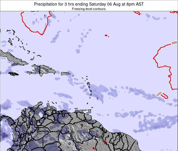 Saint Kitts and Nevis Precipitation for 3 hrs ending Friday 14 Mar at 2pm AST