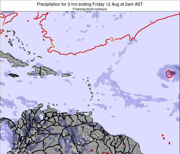 Saint Kitts and Nevis Precipitation for 3 hrs ending Tuesday 29 Apr at 2pm AST