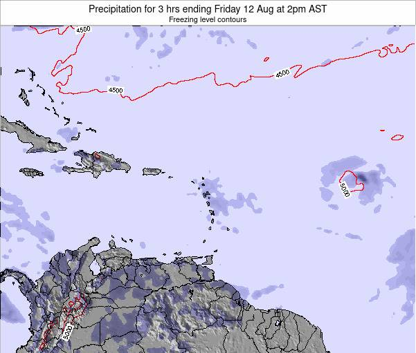 Saint Kitts and Nevis Precipitation for 3 hrs ending Thursday 07 Aug at 2am AST