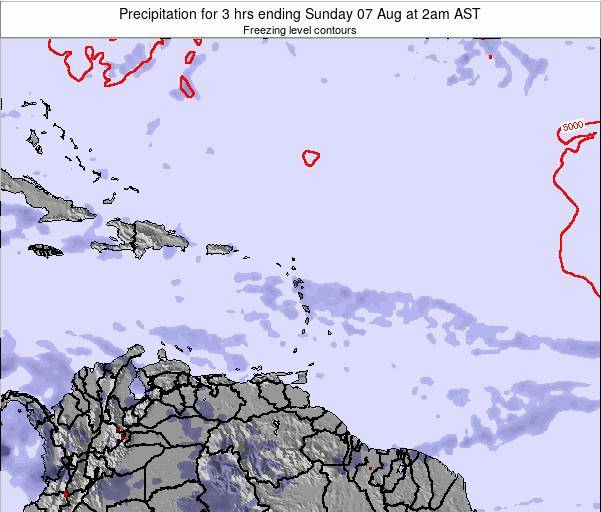 Saint Kitts and Nevis Precipitation for 3 hrs ending Monday 03 Aug at 8am AST