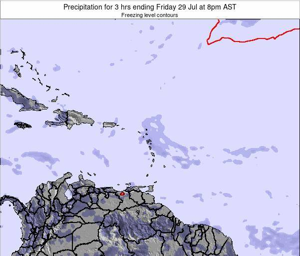 Saint Kitts and Nevis Precipitation for 3 hrs ending Sunday 15 Dec at 8am AST