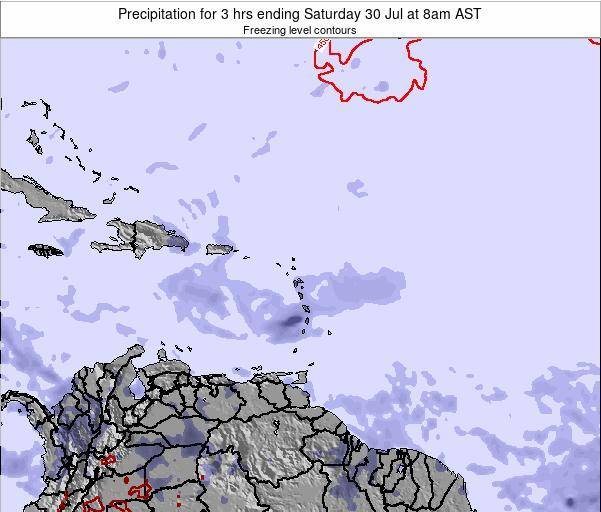 British Virgin Islands Precipitation for 3 hrs ending Monday 25 Aug at 8am AST