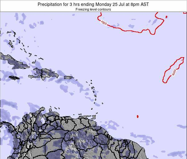 Saint Kitts and Nevis Precipitation for 3 hrs ending Friday 23 Feb at 8pm AST map