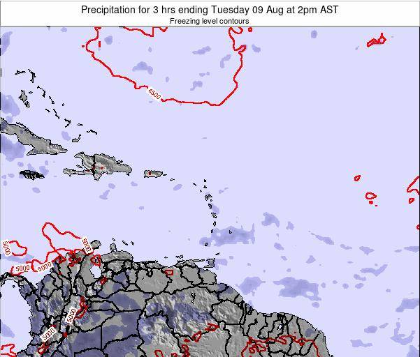 Saint Kitts and Nevis Precipitation for 3 hrs ending Sunday 27 Jul at 8pm AST